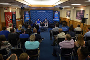 (L-R) A general view as former Duke basketball player Luol Deng, Duke basketball head coach Mike Krzyzewski and SiriusXM host Chris Spatola sit down for SiriusXM's Town Hall With Hall Of Fame Coach Mike Krzyzewski at Bill Brill Media Room in Cameron Indoor Stadium on May 31, 2018 in Durham, North Carolina.