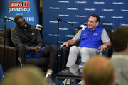 Former Duke basketball player Luol Deng (L) sits down for SiriusXM's Town Hall With Hall Of Fame Coach Mike Krzyzewski at Bill Brill Media Room in Cameron Indoor Stadium on May 31, 2018 in Durham, North Carolina.