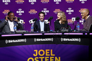 (L-R) (L-R) Sportscaster James Brown SiriusXM host Joel Osteen, SiriusXM host Victoria Osteen, former NFL player Tony Dungy speak onstage during day 3 of SiriusXM at Super Bowl LIV on January 31, 2020 in Miami, Florida.