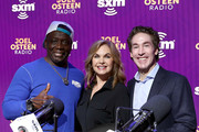 (L-R) (L-R) Martial artist Billy Blanks,  SiriusXM host Victoria Osteen and SiriusXM host Joel Osteen take photos onstage during day 3 of SiriusXM at Super Bowl LIV on January 31, 2020 in Miami, Florida.