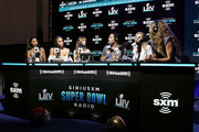 (L-R) SiriusXM host Olivia Culpo, SiriusXM host Jasmine Sanders, SiriusXM host Josephine Skriver, former NFL player Mark Sanchez, SiriusXM host Camille Kostek and SiriusXM host Kate Bock speak onstage during day 3 of SiriusXM at Super Bowl LIV on January 31, 2020 in Miami, Florida.