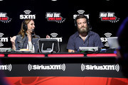TV Personality Alexis Glick and NFL quarterback Ryan Fitzpatrick of the Miami Dolphins speaks onstage during day 3 of SiriusXM at Super Bowl LIV on January 31, 2020 in Miami, Florida.