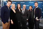 """Actors Callum Turner, Alison Sudol, Katherine Waterston, Dan Fogler and Eddie Redmayne take part in SiriusXM's Town Hall with the cast of """"Fantastic Beasts:The Crimes Of Grindelwald' on Entertainment Weekly Radio hosted by Jess Cagle (C) at the SiriusXM Studio on November 5, 2018 in New York City."""