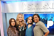 Salma Hayek, Jennifer Coolidge, Rose Byrne and Tiffany Haddish pose for a photo during SiriusXM's Town Hall with the cast of 'Like A Boss' hosted by Hoda Kotb at the SiriusXM Studio on January 8, 2020 in New York City.