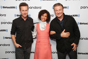 """(L-R) Actor/Director Edward Norton poses for photos with Gugu Mbatha-Raw and Alec Baldwin during  SiriusXM's Town Hall with the cast of """"Motherless Brooklyn"""" on October 21, 2019 in New York City."""