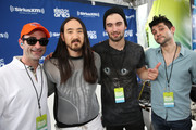 "(L-R) Danny Valentino, Steve Aoki, Dyro, and Kramer attend SiriusXM's ""UMF Radio"" at the SiriusXM Music Lounge at W South Beach on March 27, 2014 in Miami Beach, Florida."