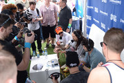 "Steve Aoki (C) is interviewed by Danny Valentino and Kramer at SiriusXM's ""UMF Radio"" at the SiriusXM Music Lounge at W South Beach on March 27, 2014 in Miami Beach, Florida."