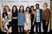(L-R) Producer Elizabeth Cuthrell, actress Kara Hayward, actress Georgie Henley, actress Willa Cuthrell-Tuttleman, writer Marilyn Fu, actor Kal Penn and director Caryn Waechter attend The Sisterhood Of Night NY Premiere and After Party on April 2, 2015 in New York City.
