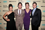 """(L-R) America Ferrera, Darren Criss, Laura Osnes and Jeremy Jordan attend HBO's New York Premiere of """"'Six by Sondheim'"""" at Museum of Modern Art on November 18, 2013 in New York City."""
