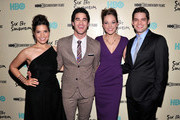 (L-R) America Ferrera, Darren Criss, Laura Osnes and Jeremy Jordan attends HBO's New York Premiere of 'Six by Sondheim' at Museum of Modern Art on November 18, 2013 in New York City.