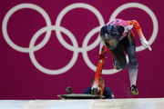 Shelley Rudman of Great Britain makes a run during the Women's Skeleton heats on Day 6 of the Sochi 2014 Winter Olympics at Sliding Center Sanki on February 13, 2014 in Sochi, Russia.