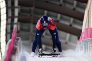 Jerry Rice of Great Britain slides into the finish area during the Men's Skeleton heats on day six of the PyeongChang 2018 Winter Olympic Games at the Olympic Sliding Centre on February 15, 2018 in Pyeongchang-gun, South Korea.