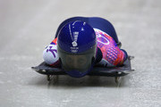 Shelley Rudman of Great Britain competes a run during the Women's Skeleton on Day 7 of the Sochi 2014 Winter Olympics at Sliding Center Sanki on February 14, 2014 in Sochi, Russia.