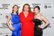 """Actors (L-R) Louisa Krause, Danielle Macdonald, and Colbi Gannett attend a screening of """"Skin"""" - 2019 Tribeca Film Festival at SVA Theater on May 01, 2019 in New York City."""