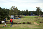 A general view as Edoardo Molinari of Italy walks down to 17th green during Day Three of Sky Sports British Masters at Walton Heath Golf Club on October 13, 2018 in Tadworth, England.