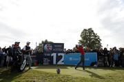 Edoardo Molinari of Italy tees off on the 12th hole during Day Three of Sky Sports British Masters at Walton Heath Golf Club on October 13, 2018 in Tadworth, England.