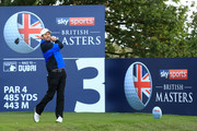 Thomas Aiken of South Africa tees off on the 3rd hole during Day Two of Sky Sports British Masters at Walton Heath Golf Club on October 12, 2018 in Tadworth, England.