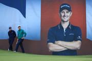 Matthew Fitzpatrick of England and Justin Rose of England looks on from the 18th green during Day Two of Sky Sports British Masters at Walton Heath Golf Club on October 12, 2018 in Tadworth, England.
