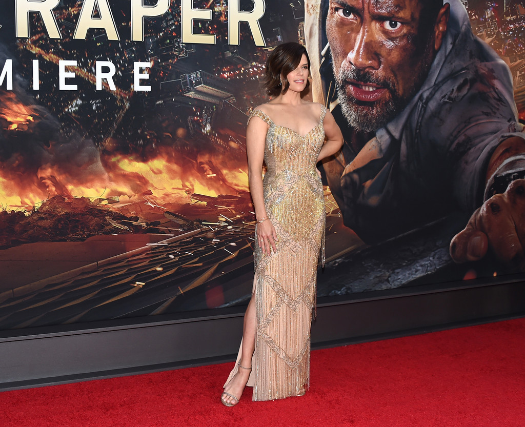Neve Campbell attends the Skyscraper New York Premiere