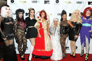 """(L-R) Sharon Needles, Phi Phi O'hara, Manila Luzon, Jennifer 'JWoww' Farley, Nicole 'Snooki' Polizzi, Shangela, Ivy Winters, and Detox attend the Snooki and JWoww Halloween Event: """"Night Of The Living Drag"""" at Providence on October 25, 2013 in New York City."""