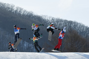 Pierre Vaultier of France (red), Jarryd Hughes of Australia (white), Regino Hernandez of Spain (green), Nick Baumgartner of the United States (blue), Mick Dierdorff of the United States (black) and .Alex Pullin of Australia (yellow) compete during the Men's Snowboard Cross Big Final on day six of the PyeongChang 2018 Winter Olympic Games at Phoenix Snow Park on February 15, 2018 in Pyeongchang-gun, South Korea.