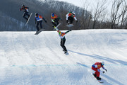Pierre Vaultier of France (red) leads the pack during the Men's Snowboard Cross Big Final on day six of the PyeongChang 2018 Winter Olympic Games at Phoenix Snow Park on February 15, 2018 in Pyeongchang-gun, South Korea.