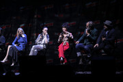 (L-R) Mickey Sumner, Lena Hall, Sheila Vand, Steven Ogg and Graeme Manson speak onstage at the Snowpiercer panel during New York Comic Con at Hammerstein Ballroom on October 05, 2019 in New York City.