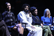 (L-R) Jennifer Connelly, Daveed Diggs, Alison Wright, and Mickey Sumner speak onstage at the Snowpiercer panel during New York Comic Con at Hammerstein Ballroom on October 05, 2019 in New York City.