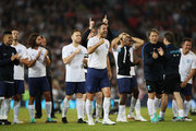 Jamie Redknapp of England celebrates a successful penalty in the shoot out during the Soccer Aid for UNICEF 2018 match between Englannd and the Rest of the World at Old Trafford on June 10, 2018 in Manchester, England.