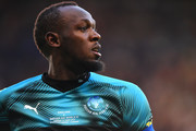 Usain Bolt of Soccer Aid World XI looks on during the Soccer Aid for UNICEF 2019 match between England and the Soccer Aid World XI at Stamford Bridge on June 16, 2019 in London, England.