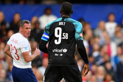 Usain Bolt of Soccer Aid World XI wears the number 9.58 in reference to his 100 metres World Record time during the Soccer Aid for UNICEF 2019 match between England and the Soccer Aid World XI at Stamford Bridge on June 16, 2019 in London, England.