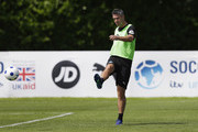 Kevin Pietersen of the Rest of the World takes part in training during Soccer Aid for UNICEF media access at Fulham FC training ground on June 8, 2018 in New Malden, England.
