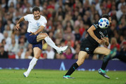 Jamie Redknapp of England shoots during the Soccer Aid for UNICEF 2018 match between Englannd and the Rest of the World at Old Trafford on June 10, 2018 in Manchester, England.