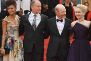"""(L-R) Actress Thandie Newton, Actor Woody Harrelson, director Ron Howard and actress Emilia Clarke attend the screening of """"Solo: A Star Wars Story"""" during the 71st annual Cannes Film Festival at Palais des Festivals on May 15, 2018 in Cannes, France."""
