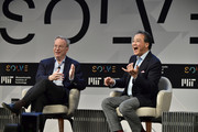 Eric Schmidt and Yo-Yo Ma speak at the 'Solve At MIT:  Opening Plenary - The Heart Of The Machine: Bringing Humanity Back Into Technology' at Massachusetts Institute of Technology on May 16, 2018 in Cambridge, Massachusetts.