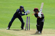 Tom Banton of Somerset is stumped by John Simpson of Middlesex during the Royal London One-Day Cup match between Somerset and Middlesex at The Cooper Associates County Ground on May 27, 2018 in Taunton, England.