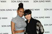 (L-R) Tashiana Washington and Son Jung Wan pose backstage at the Son Jung Wan Fall 2016 fashion show during New York Fashion Week: The Shows at The Dock, Skylight at Moynihan Station on February 13, 2016 in New York City.