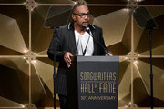 Timbaland speaks onstage during the Songwriters Hall Of Fame 50th Annual Induction And Awards Dinner  at The New York Marriott Marquis on June 13, 2019 in New York City.