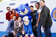 (L-R) Jim Carrey, James Marsden, Jeff Fowler, Ben Schwartz, Sonic, Haruki Satomi, Tika Sumpter and Toby Ascher attend Sonic The Hedgehog Family Day Event on January 25, 2020 in Hollywood, California.