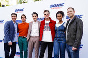 (L-R) Jim Carrey, James Marsden, Jeff Fowler, Ben Schwartz, Tika Sumpter and Toby Ascher attend Sonic The Hedgehog Family Day Event on January 25, 2020 in Hollywood, California.