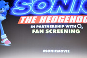 "(L-R) Vick Hope, director Jeff Fowler, Ben Schwartz and Jim Carrey attend the ""Sonic the Hedgehog"" London Fan Screening at Vue Westfield on January 30, 2020 in London, United Kingdom."