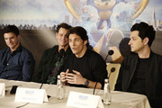 "Director Jeff Fowler, Jim Carrey, James Marsden and Ben Schwartz  speak onstage during the ""Sonic The Hedgehog"" Parent Blogger / Influencer Conference featuring James Marsden, Ben Schwartz & Jim Carrey with host Heather Brooker at the Four Seasons Los Angeles at Beverly Hills on January 24, 2020 in Los Angeles, California."