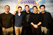 "(L-R) Producer Toby Ascher, Director Jeff Fowler, Jim Carrey, James Marsden and Ben Schwartz  attends the ""Sonic The Hedgehog"" Parent Blogger / Influencer Conference featuring James Marsden, Ben Schwartz & Jim Carrey with host Heather Brooker at the Four Seasons Los Angeles at Beverly Hills on January 24, 2020 in Los Angeles, California."