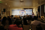 "Producer Toby Ascher, Director Jeff Fowler, Jim Carrey, James Marsden, Ben Schwartz and Heather Brooker speak onstage during attends the ""Sonic The Hedgehog"" Parent Blogger / Influencer Conference featuring James Marsden, Ben Schwartz & Jim Carrey with host Heather Brooker at the Four Seasons Los Angeles at Beverly Hills on January 24, 2020 in Los Angeles, California."
