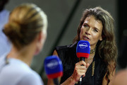 Annabel Croft of Great Britain interviews Svetlana Kuznetsova of Russia on air for Eurosport TV channel during the Sony Ericsson Championships at the Khalifa Tennis and Squash Complex on October 30, 2009 in Doha, Qatar.