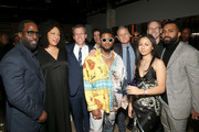 (L-R)  RCA Records Urban Music President/CEO ByStorm Entertainment Mark Pitts, RCA Records Marketing EVP Carolyn Williams, RCA Records Co-President John Fleckenstein, Usher, RCA Records A&R President Keith Naftaly, Mariah The Scientist, RCA Records CEO & Chairman Peter Edge, and SVP of A&R at RCA Records Adonis Sutherlin attend the Sony Music Entertainment 2020 Post-Grammy Reception at NeueHouse Hollywood on January 26, 2020 in Los Angeles, California.