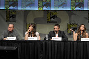 """(L-R) Actors Bryan Cranston, Jessica Biel, Colin Farrell, and Kate Beckinsale speak during Sony's """"Total Recall"""" panel during Comic-Con International 2012 at San Diego Convention Center on July 13, 2012 in San Diego, California."""