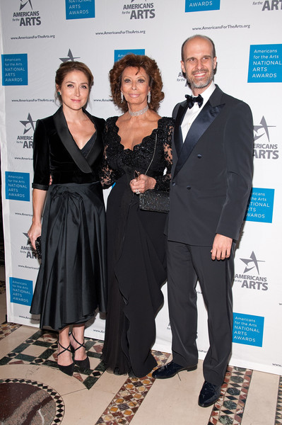2015 National Arts Awards [event,fashion,award,white-collar worker,carpet,dress,suit,little black dress,fashion design,formal wear,sasha alexander,edoardo ponti,sophia loren,l-r,new york city,cipriani 42nd street,national arts awards]