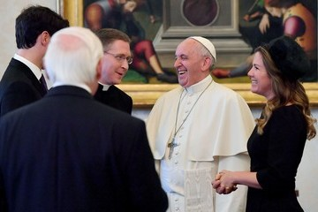 Sophie Gregoire Trudeau Pope Francis Meets Prime Minister Of Canada Justin Trudeau