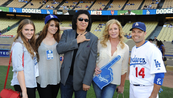 Gene Simmons Throws Out The First Pitch at the Dodgers Game [gene simmons throws out the first pitch,product,event,uniform,fan,sport venue,team,stadium,gene simmons,baseball player,pitch,v,l-r,dodgers,ny mets,game,game]